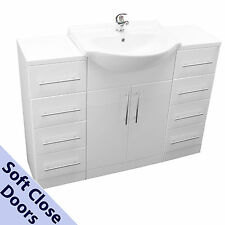 BATHROOM VANITY SINK CABINET 550mm 2 WHITE DRAWER UNITS BASIN MIXER TAP WASTE