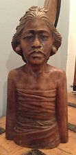 Vintage Antique Bali Balinese Wood Carving Female Bust Circa 1940s