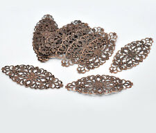 Pop 50 Brand New Copper Tone Filigree Flower Wraps Connector 8x3.5cm