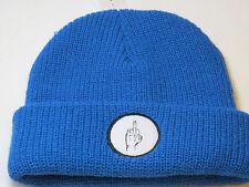Vibetown beanie knit hat skull cap NEW RARE blue 040 bird middle finger NWT