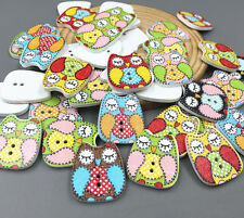 DIY 25X Eyes closed owl Wooden Buttons Fit Sewing decoration scrapbooking 22mm