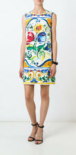 DOLCE & GABBANA- AUTH BNWT Maiolica Floral Tile-Print Brocade Shift Dress 48