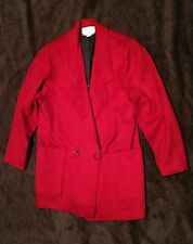 Cassidy Red Wool Winter Mid Length Trench Coat Jacket Women's 4 Hand Tailored
