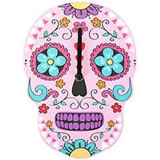 HALLOWEEN/PAGAN Blue Candy Skull Clock/Day of the Dead H:25cm W:18cm D:2.5cm