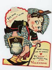 Articulated vintage die-cut Valentine Card  Scottish tartan and kilt sporran.