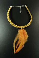 FESTIVAL CHIC LADIES POCAHONTAS STYLE BROWN CRISS-CROSS FEATHER CHOKER (ZX3)