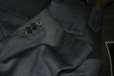 $4795 Ermenegildo Zegna Couture Wool Suit 46R 42W Charcoal Purple stripe