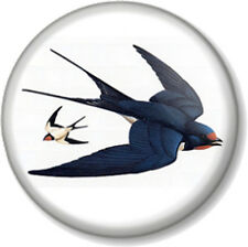 "Swallow Birds 1"" 25mm Pin Button Badge Tattoo Rockabilly Emo Ornithology Drawing"