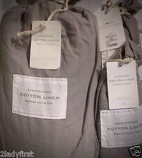 RESTORATION HARDWARE Stonewashed Cotton Linen FL/QN Duvet & 2 Standard Shams~FOG