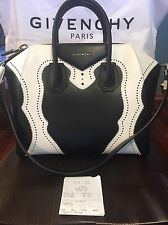 $2890 Givenchy Antigona Brogue Medium Tote Bag Black White NEE