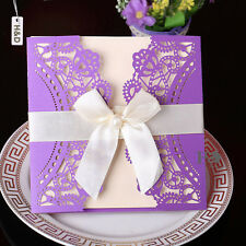12 Sets Purple Wedding Invitations Cards Birthday Party Decor with Ribbon Bow