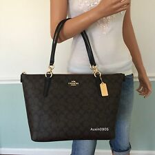 NEW COACH Gorgeous Signature PVC Leather Shoulder Bag Zip Tote Purse Black Brown