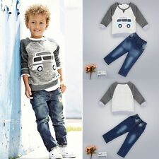 Toddler Boys Outfit Clothes Car Print T-shirt Tops+Long Jeans Trousers 1Set 130