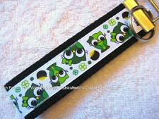 SHAMROCK OWL...WHOO...WHOO'S IRISH? Key Fobs (really cute keychains)