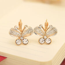 NiX 1284 Earrings Gold Plated White Butterfly Crystal Women Gift 2016 Fashion