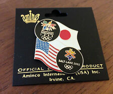 USA Flag Japan Flag Nagano 1998 Salt Lake City 2002 Olympic Bridge Pin