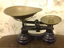 VINTAGE LIBRASCO WEIGHING SCALES WITH BRASS PAN AND PLATE BLACK METAL