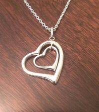 "STERLING SILVER DOUBLE HEART CHARM PENDANT & NECKLACE - 18"" CHAIN"
