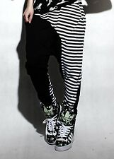 Women Fashion Dance Performance Costume Stripe Spliced Panelled Hip Hop Trousers