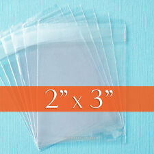 "200 Clear Cellophane Bags, 2 x 3 inch OPP Poly Cello w/ Resealable Flap. 2"" x 3"""