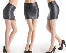 NEW LADIES SEXY BLACK WET LOOK FAUX LEATHER MINI SKIRT, SIZE 10