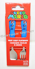 SUPER MARIO BROS SPOON AND FORK SET 2PC FLATWARE STAINLESS STEEL GIFT NINTENDO
