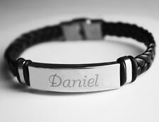 DANIEL - Mens Bracelet With Name - Leather Braided Birthday Gifts For Him