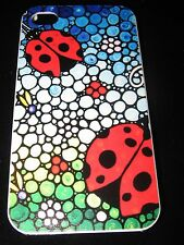 Lady Bugs Hard Cover Case for iPhone 4 4s Lady Bugs on Mosaic Pattern
