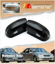 LED BLACK Side Mirror Covers for Mercedes 2003-2005 W211 Pre-Facelift E-CLASS