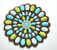 GEOMETRIC DESIGN FLOWER   Embroidered Sew Iron On Cloth Patch Badge APPLIQUE