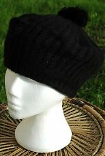 FLIRT Mens Ladies Unisex Rabbit Knitted Winter Woolly Bobble Beanie Hat Black