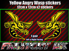 Pair of Angry Wasp Stickers Moto GP laptop helmet bike car scooter vespa hornet