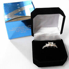 LOVELY AVON PLATINUM PLATED THREE STONE PRINCESS CUT CZ RING LARGE SIZE 2005 N0S