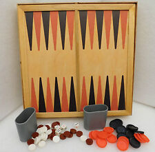 Vintage wooden chess and backgammon board Plastic draughts men backgammon pieces