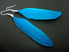 A PAIR OF LONG BLUE FEATHER  DANGLY  EARRINGS.