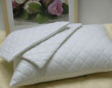 2 X White 100% Cotton Quilted Pillow Protectors with Zip Closure , Brand New !!
