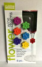 Flower Wine Charms Six Colors Reusable Flexible Silicon by Cuisine Niche