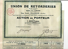 Union de Retorderies,Mulhouse-Action au Porteur de 1.250 Francs-1924