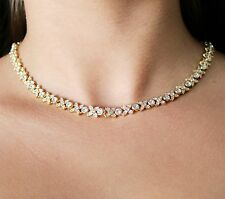 Yellow Gold Flower Collar Necklace Clear Swarovski Element Crystals Oliver Weber