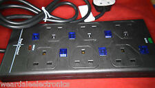 6 GANG EXTENSION LEAD BLACK SURGE PROTECTED INDIVIDUALLY SWITCHED SOCKETS PACK 1