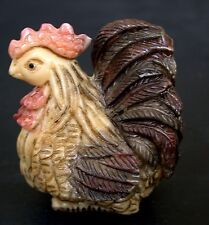 Japanese ivory colored bone  netsuke - A Proud Rooster/Hen?