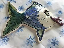 "2000 Blue Sky Clayworks - Heather Goldminc - 8"" Teal Kissy Fish - Retired!"
