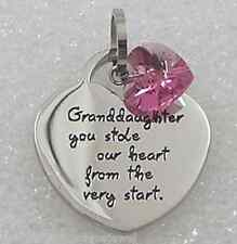Granddaughter Stole Our Heart Necklace Stainless Steel Silver Swarovski  Crystal