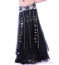 Professional Dancing Belly Dance Costume 2 layers Chiffon Skirt Dress 11 colors