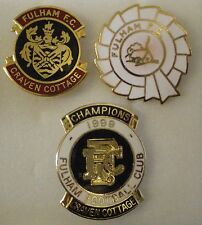 3 x Football Enamel Lapel Pin Badges FULHAM F.C. Lot1 CHAMPIONS 1999. CRAVEN COT