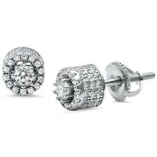 Round Unique Micro Pave Stud .925 Sterling Silver Earrings
