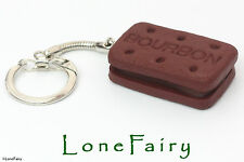 Polymer Clay Chocolate Brown Bourbon Biscuit Food Keyring British Key Chain