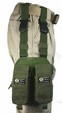 Olive MOLLE Webbing Leg Panel with Rifle and Pistol Mag Kangaroo Pouches