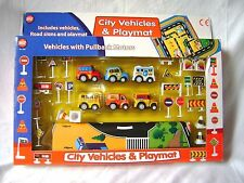 NEW CITY VEHICLES PLAY MAT SET PULL BACK CARS ROAD SIGNS GIANT TOWN PLAYMAT PADG