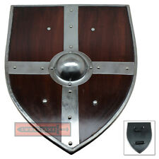 Banded Wooden Norse Viking Raider Wood Kite Shield Iron Boss LARP Cosplay Weapon